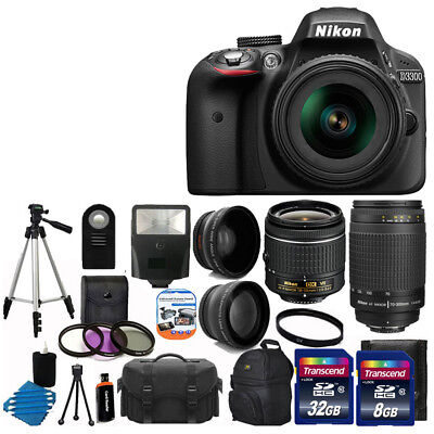 Nikon D3300  DSLR Camera Body +4 Lens 18-55mm VR 70-300mm & Flash +40GB Top Kit