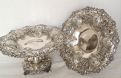 RareTiffany & Co Sterling Silver-Pair of American  Compotes - Antique - 1150.3 g