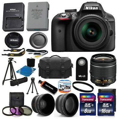 Nikon D3300 Digital SLR DSLR Camera +3 Lens 18-55 VR +24GB KIT &More Brand New