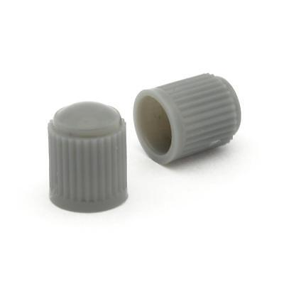 2x Grey Plastic Tyre Valve Dust Caps Motorcycle Scooter Universal Fit Strada