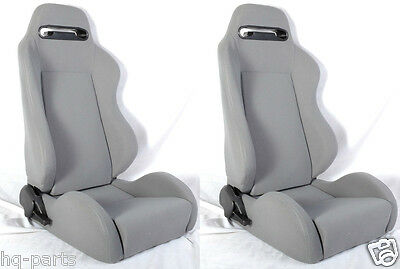 New 1 Pair Gray Cloth Racing Seats + Sliders All Ford ***