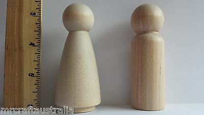 Dolls Wooden x 4 Natural- Large 9cm Woman & Man Doll 2 of Each