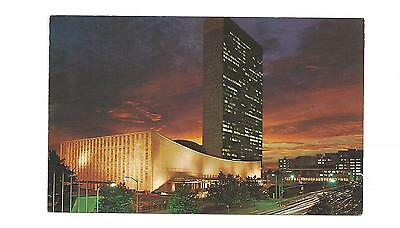 United Nations Building, Night View Vintage Postcard New York City