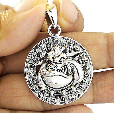 Usmc Bulldog Dog Us Marine Corps  Sterling 925 Silver Military Mens Pendant