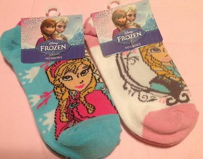 2 Pair New Disney Frozen Anna & Elsa Ankle Socks Size 6 - 8-1/2 (T)
