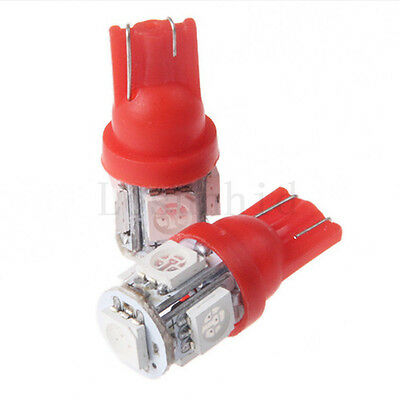 2PCS T10 5SMD 5050 Car LED Light Side Wedge Light Tail Light Map Lamp Red
