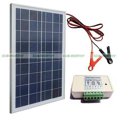 20Watt Solar System Kit : Panel W/ 30A battery clips & 3A controller for camping