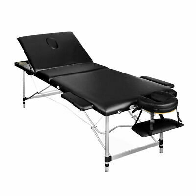 Zenses Portable Aluminium Massage Table 3 Fold Beauty Bed Therapy Waxing Black