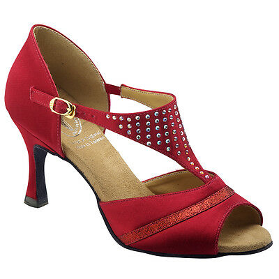 Hand Made Stylish Red Ladies Latin Ballroom Salsa Dance Shoes Small n big sizes
