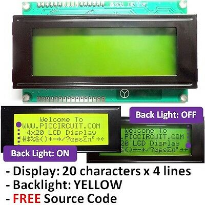 2004 20x4 or 4x20 Character LCD Display (Yellow Backlight) with FREE Source Code