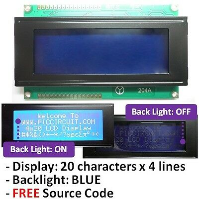 2004 20x4 or 4x20 Character LCD Display (Blue Backlight) with FREE Source Code