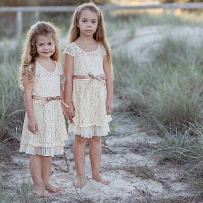 New Flower Girl Dress Communion Confirmation Vintage  Wedding Lace Rosey WHITE