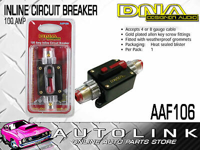 Dna 100 Amp Inline Circuit Breaker 4 Or 8 Gauge Gold Plated Fittings
