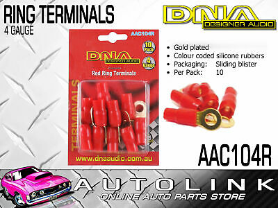 Dna 4 Gauge Ring Terminals Gold Plated Red With Rubber Insulators 10 Pack