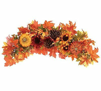 """Beautiful 23"""" Autumn/Fall Swag Wreath with Pumpkin, Sunflower and Berry Accents"""