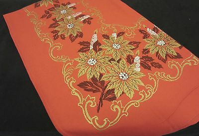 Vintage Red Gold Silver POINSETTIA w CANDLES CHRISTMAS Holiday Tablecloth