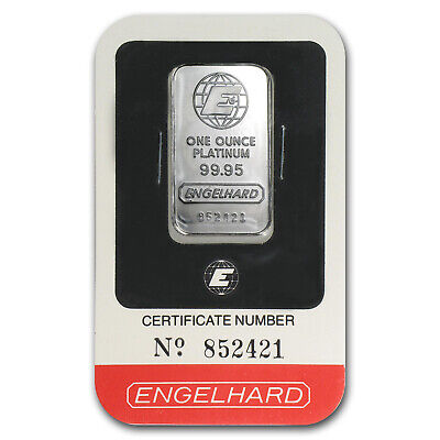 1 oz Platinum Bar - Engelhard (In Assay) - SKU #64918