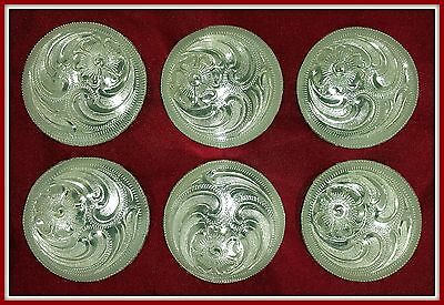 """6 - 1 1/4"""" Silver Hand Engraved Western Conchos"""