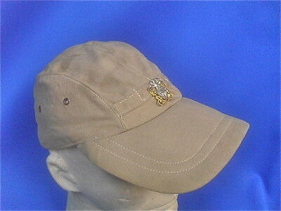Original WWII US Navy Officers 'Duckbill' Khaki Ball Cap with Sterling Insignia