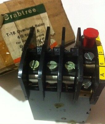 1 X Crabtree T-16 Overload Relay 4 -6 A For Use With Starter Mounting