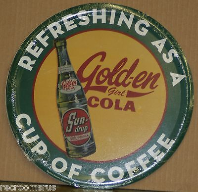 "SUN DROP GOLDEN COLA 12"" metal sign refreshing as a cup of coffee soda pop"