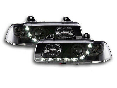 BMW 3 Series E36 Coupe / Cabrio 1992-1998 Black LED DRL Daylight Headlights RHD
