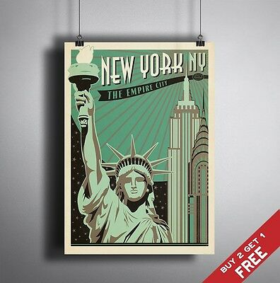 A3 Large NEW YORK POSTER Vintage Retro Travel Wall Art Home Decor Print Picture