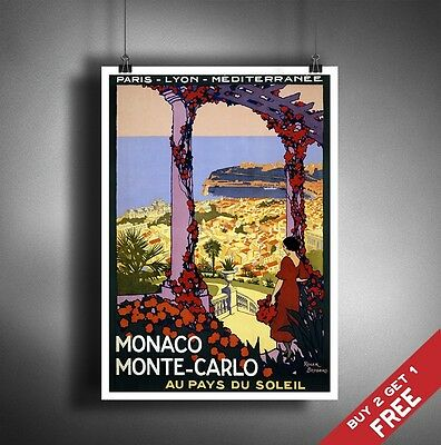 A3 Large MONACO MONTE CARLO POSTER Vintage Retro Travel Wall Art Colour Picture