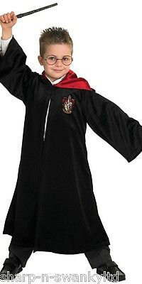 Boys Deluxe Harry Potter Wizard Robe Book Day Fancy Dress Up Costume Outfit