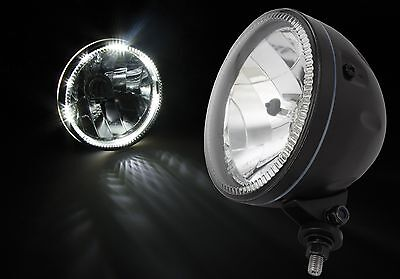 Motorcycle Angel Eye Style Headlight Matt Black W/ Bottom Mount Led Halo Ring