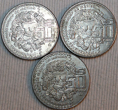 Lot of 3 1982 84 50 Pesos Coin Coyolxouhqui Mexican Coin