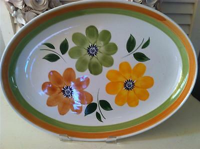 Vtg C.B.M.Faiena Forte Orange/Green Italy Large Oval Serving Bowl 18.5""