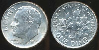 United States, 1953-D Dime, Roosevelt (Silver) - Choice Uncirculated