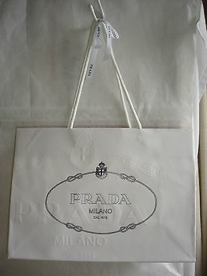 "PRADA white SHOPPING shoe & bag GIFT BAG - 13.5"" L x 9.5"" x 5.5"""