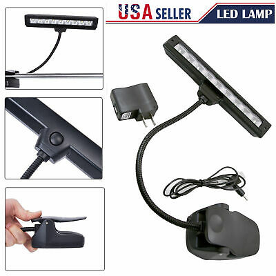 Black Flexible 9 LED Clip-On Orchestra Music Stand LED W/ Adapter Lamp Light