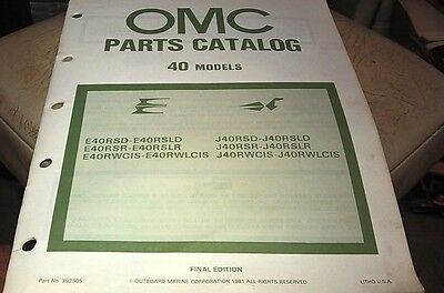 1981 JOHNSON Evinrude OMC Outboard Factory Parts Book - 40hp