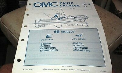 1982 JOHNSON Evinrude OMC Outboard Factory Parts Book - 40hp