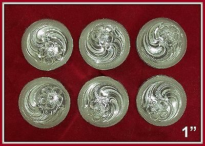 """6 - 1"""" Silver Hand Engraved Western Conchos"""