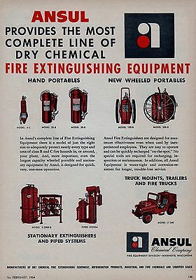 ANSUL COMPLETE LINE OF DRY CHEMICAL EXTINGUISHERS   1954  AD