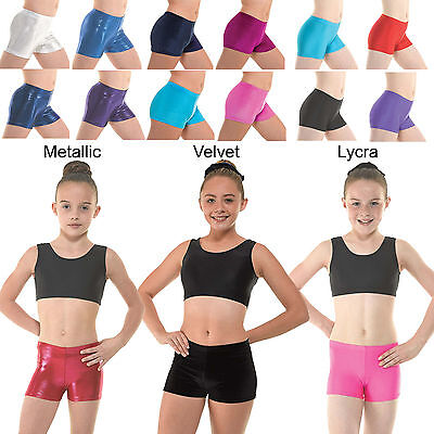 Gymnastics Gym Leotard Shorts Metallic Lycra Velvet Hipster Shorts