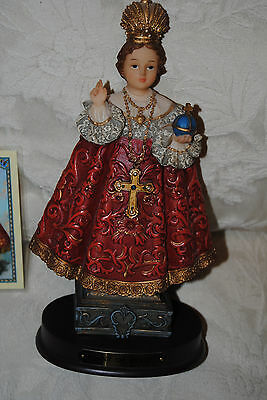 INFANT OF PRAGUE STATUE WITH LAMINATED CARD.MINT CONDITION. BASE WITH GOLD PLATE