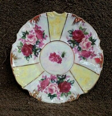 Beautiful Rose China Plate With Gold Accents