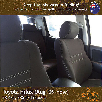 Toyota Hilux (Aug 09-Aug 15) FRONT Premium Waterproof Neoprene Seat Covers