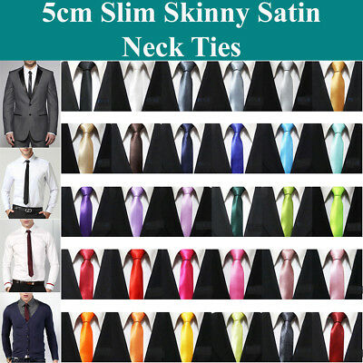 Men Slim Skinny Thin Solid Colour Plain Satin Tie Narrow Necktie Arrow Wedding