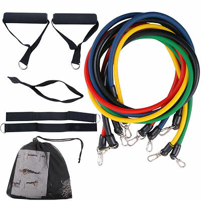 11pcs Latex Resistance Bands Tubes GYM Exercise Set for Yoga ABS Workout Fitnes