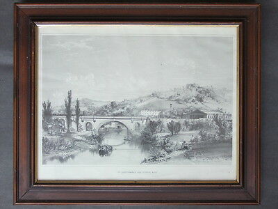 St James Bridge & Railway Station Bath c1846 by J C Bourne - Framed Print