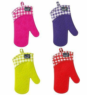 Zeal Steam Stop Waterproof Silicone Oven Glove / Mitt - Gingham / Plaid