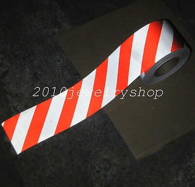 """Silver&Red Safety Reflective Tape Self-adhesive Stripe Warning Tape 10cm(4"""")"""