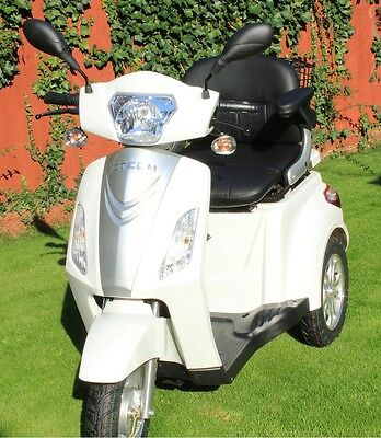 NEW WHITE 3 Wheeled 20AH 500W Electric Mobility Scooter FREE BAG + FREE DELIVERY