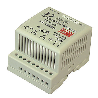 Mean Well DR-4524 AC to DC DIN-Rail Power Supply 24 Volt 2 Amp 48 Watt